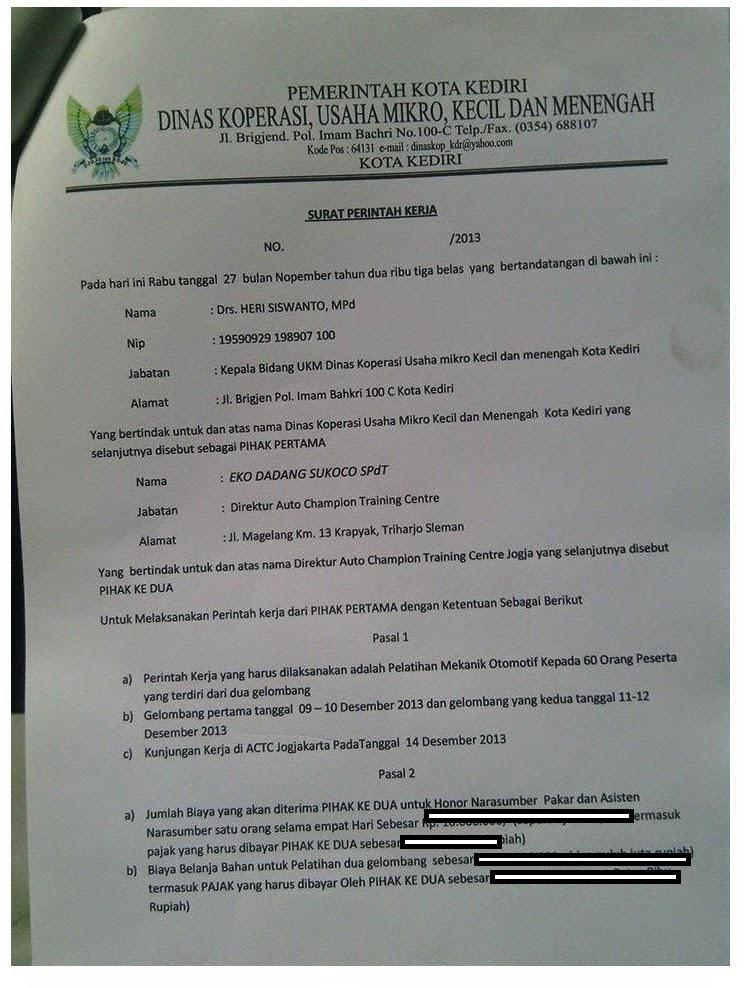 surat kerjasama pelatihan mekanik