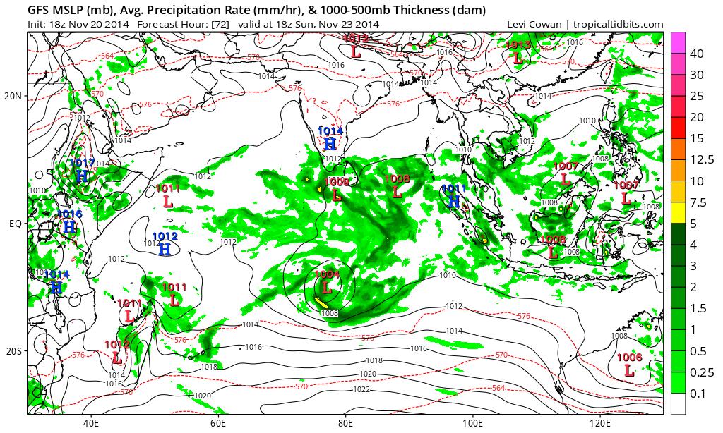 Prévisions pour les précipitations (en vert) pour dimanche soir