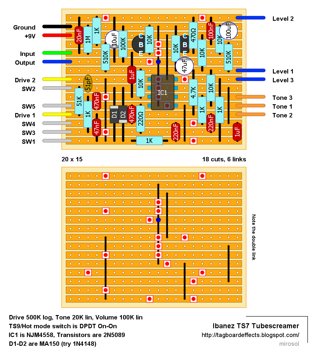 Guitar FX Layouts: Ibanez TS7 Tubescreamer on