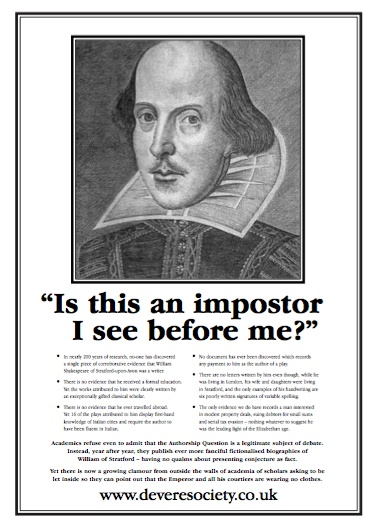 shakespeare authorship controversy essay The shakespeare authorship question, also known as  to the gunpowder plot  in a winter's tale — are under dispute  proving that the author was still putting  quill to paper in 1623 when the first folio was being created.