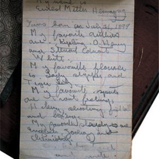 Immagine di una nota di Ernest Hemingway bambino. vanillasnotes