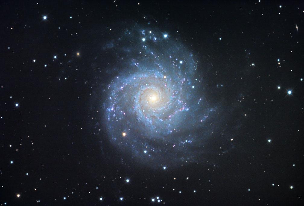 M74 là một thiên hà xoắn ốc cổ điển với cánh tay mờ dần và phần nhân rực sáng bởi rất nhiều những ngôi sao. Nằm cách chúng ta 32 triệu năm ánh sáng trong chòm sao Pisces (Song Ngư), M74 chứa khoảng 100 tỷ ngôi sao. Các cách tay xoắn ốc chứa dầy đặc những cụm sao và những đám mây bụi màu hồng tạo nên bởi khí hydro phát quang. Tác giả : Jim Misti.