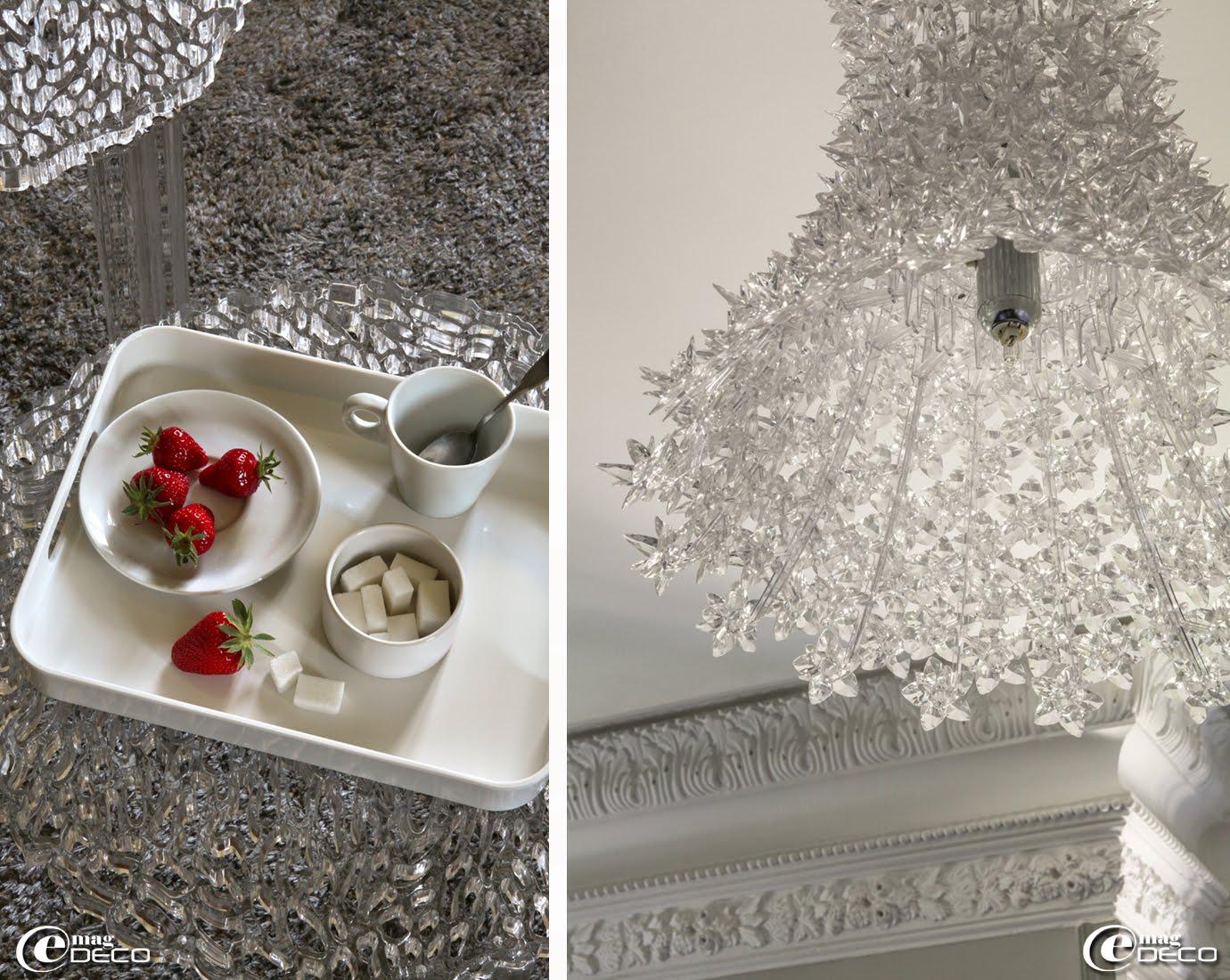 Plateau 'zak!designs', table basse 'T–Table' de Patricia Urquiola et lustre 'Bloom' de Ferruccio Laviani chez 'Kartell'