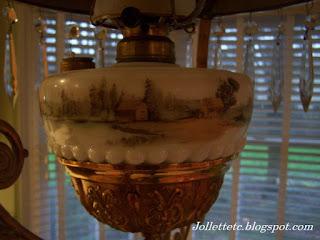 Mary Frances Davis Victorian Hanging Parlor Lamp Kerosene Font