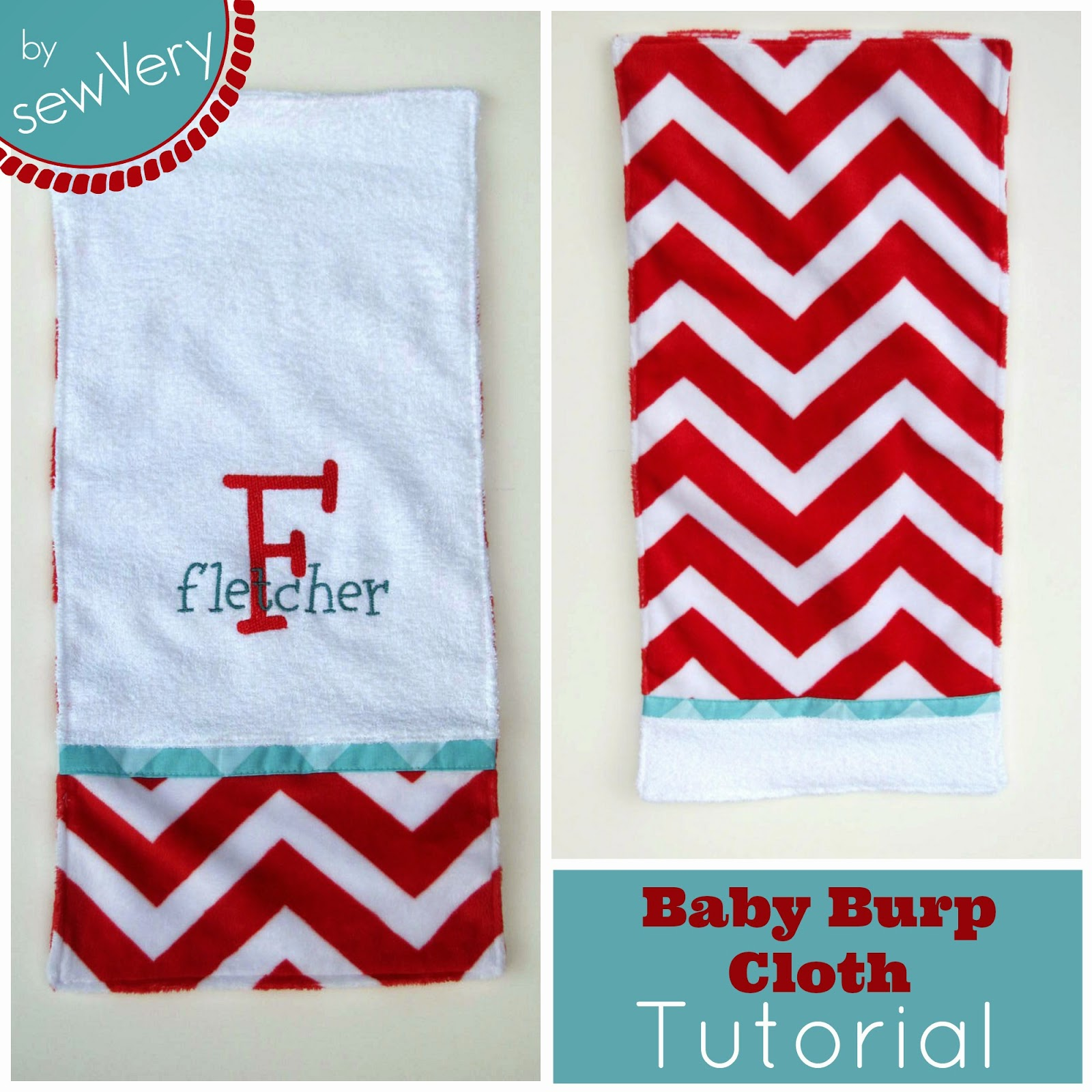 sewVery Embroidered Terry Cuddle Burp Cloth Tutorial