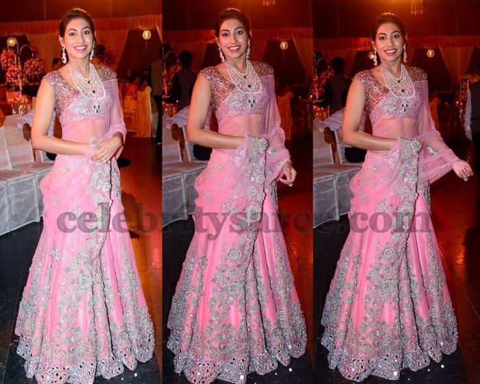 Mirror Work Baby Pink Half Saree