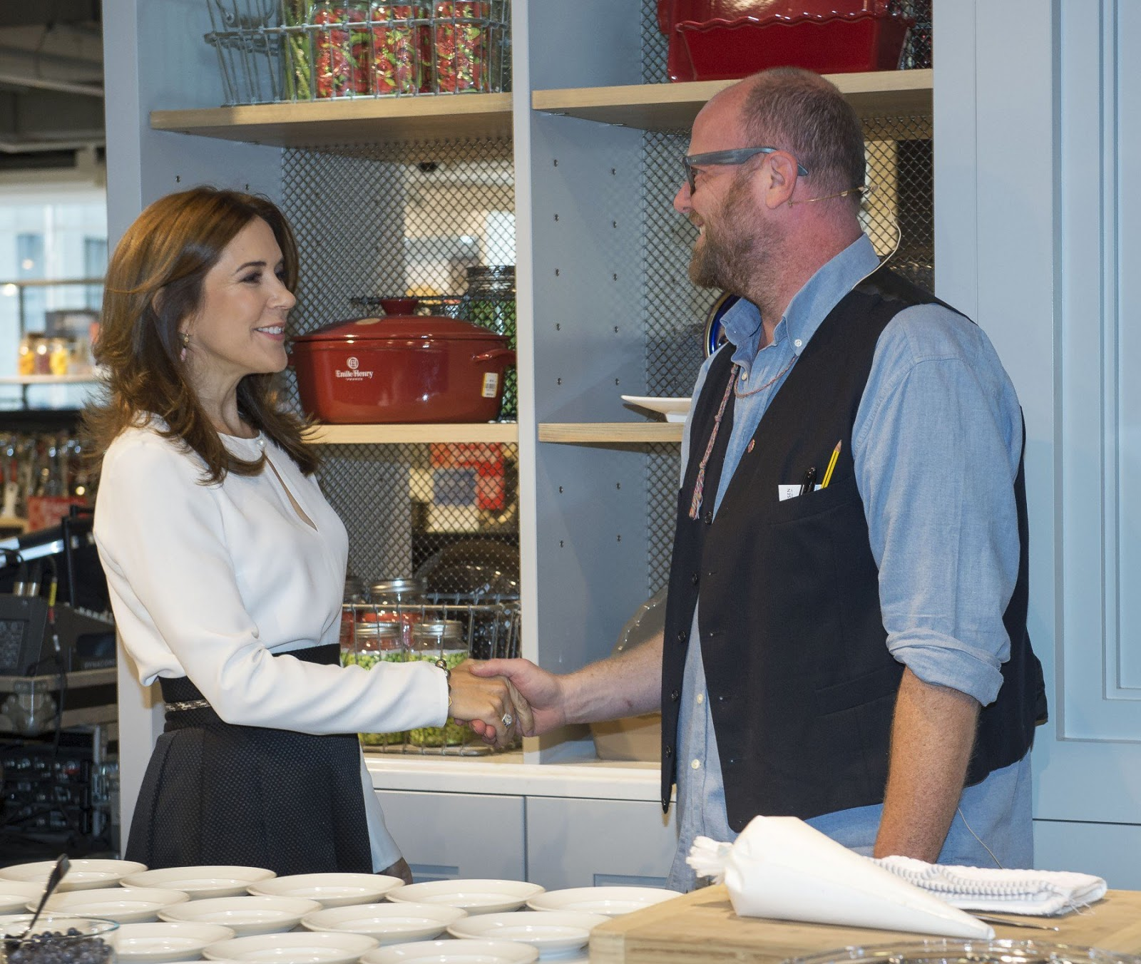 Crown Princess Mary and Crown Prince Frederik took time to visit the different stands and speak to the people behind the brands about their products.