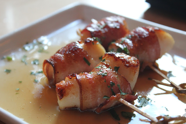 Bacon-wrapped scallop skewers at Nix's Mate, Boston, Mass.