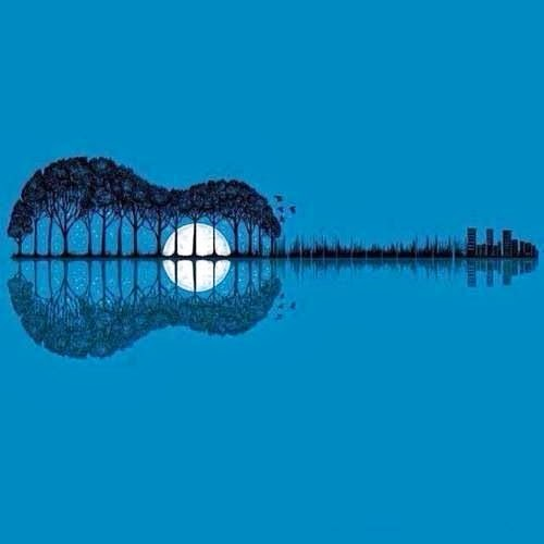Guitar Skyline Moon Reflection - Inspiration Photoshop