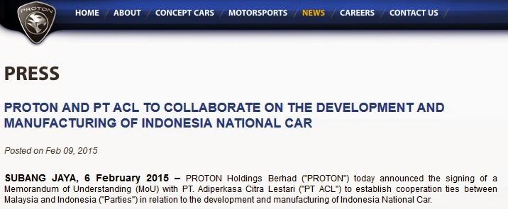 GAMBLANG  kerjasama Proton dan Indonesia untuk mobil nasional