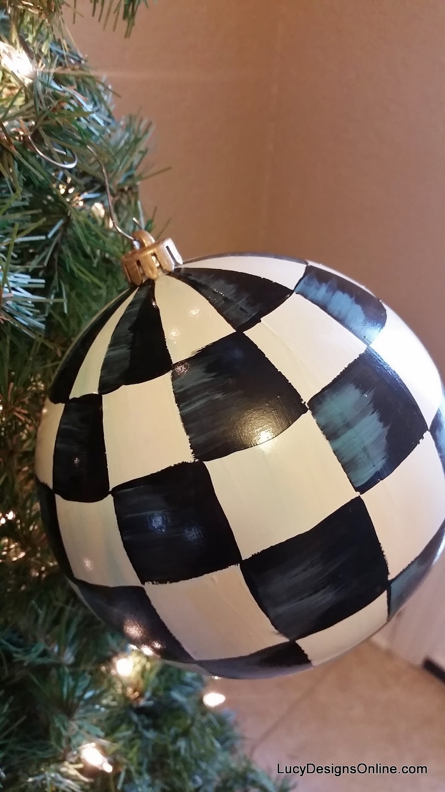 "oversized 6"" black and white checked ornament"