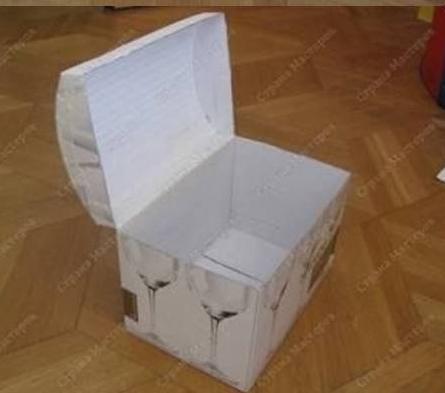 Сундук на свадьбу из коробки из под бумаги