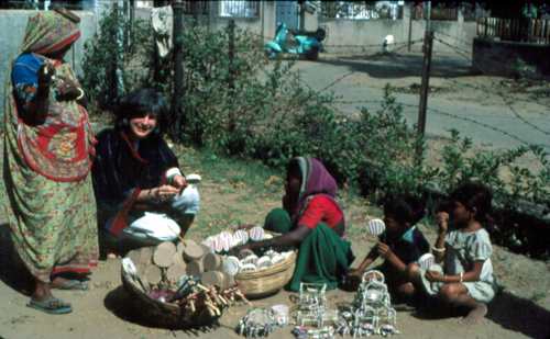 Zette Emmon with toy makers in Ahmedabad