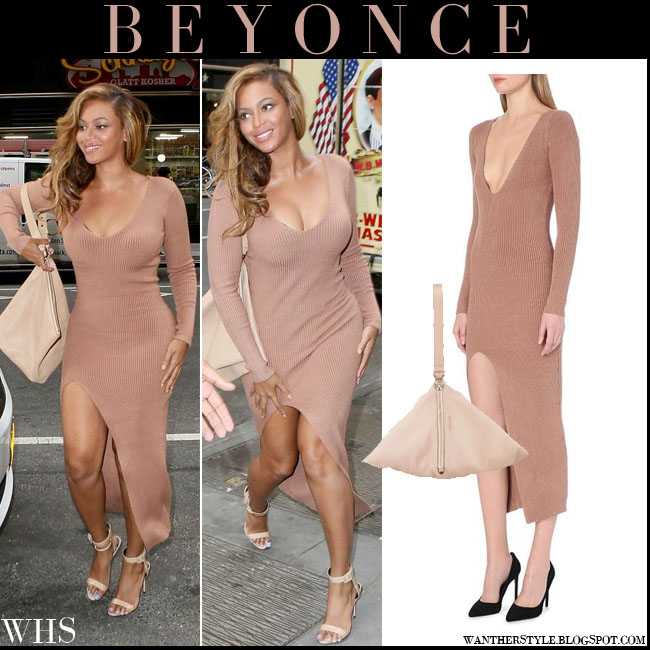 Beyonce in camel ribbed knitted plunging long Self Portrait dress with pink triangle Givenchy wristlet what she wore july 21