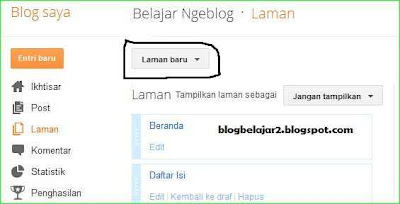 cara membuat laman dan menambah link di menu horizontal blog