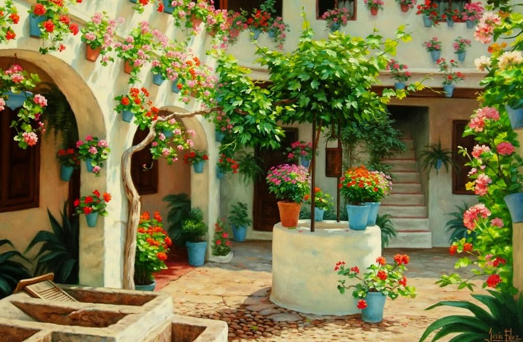 Im genes arte pinturas paisaje con flores alegres para pintar - Patios andaluces decoracion ...