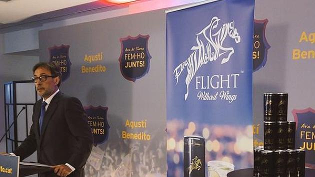 Agustí Benedito en la presentación del preacuerdo con Flight Without Wings