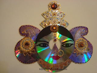 Riya 39 s crafts craft ur scrap durga mata cd craft for Waste material craft works