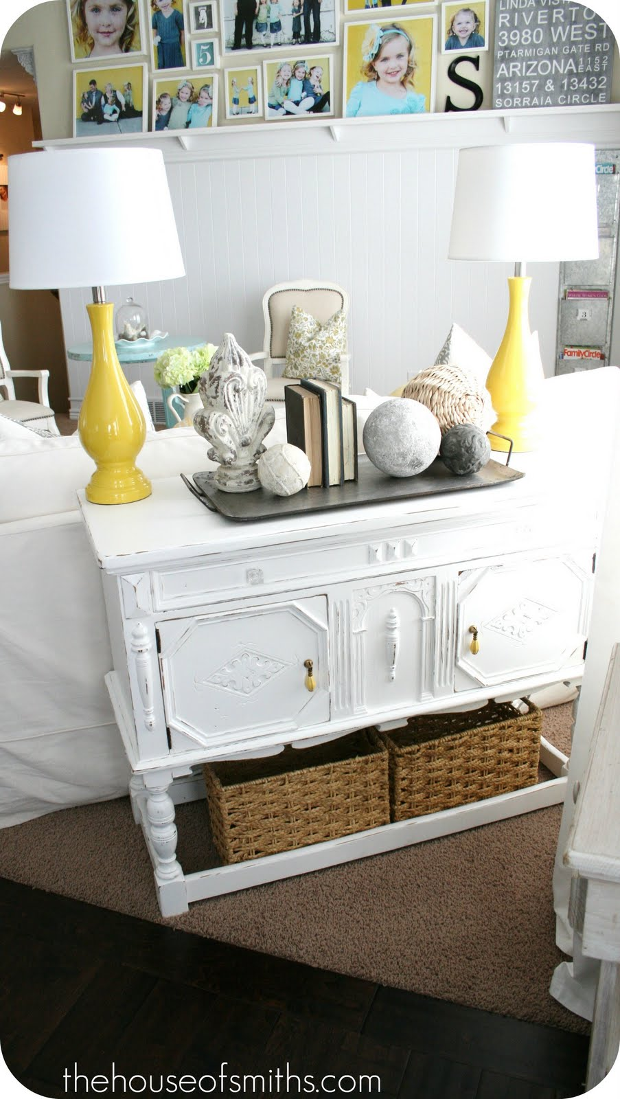 console table makeover yellow lamps