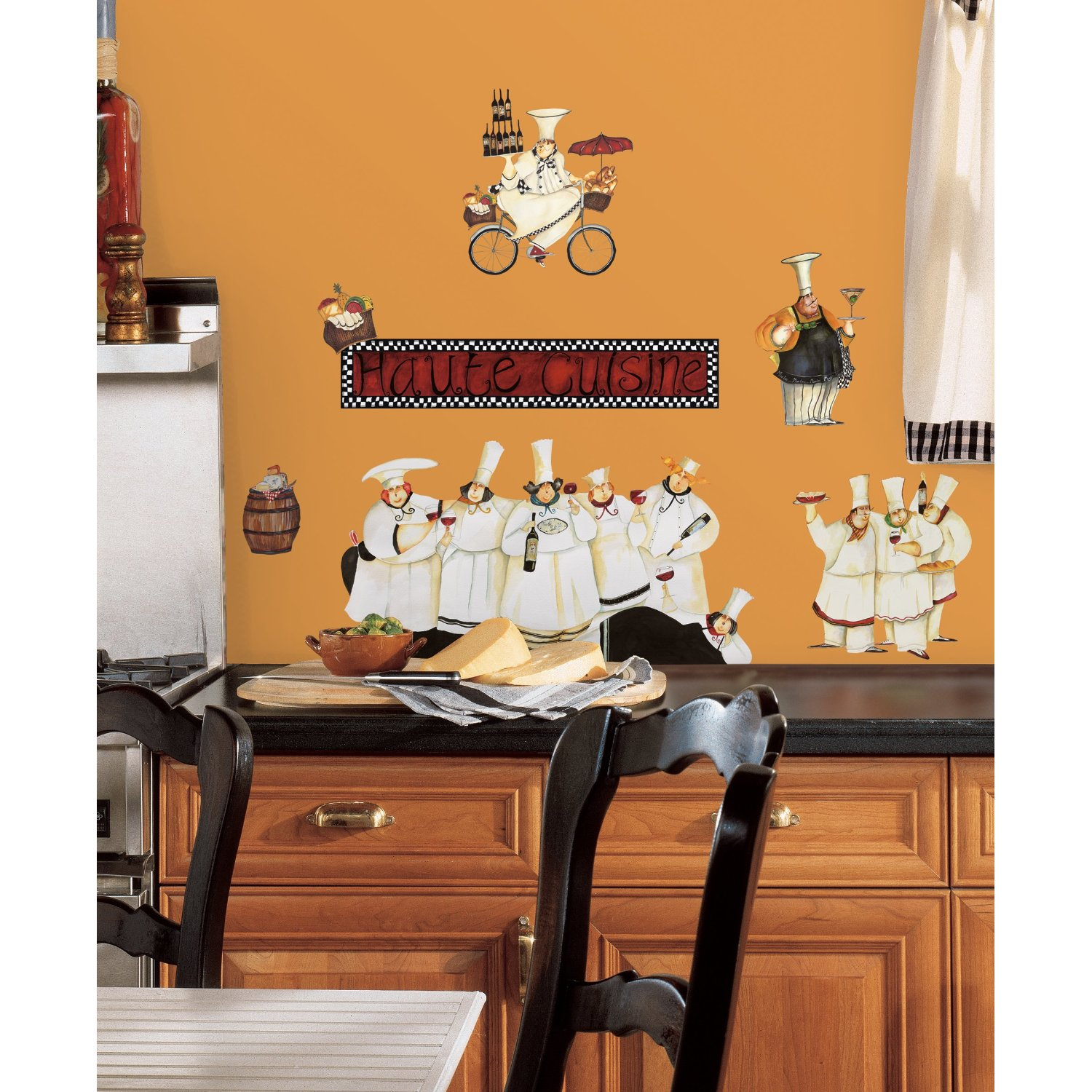 Kitchen world the best for your kitchen decorate your kitchen with fat chef wall decals - Kitchen wall decorating ideas ...