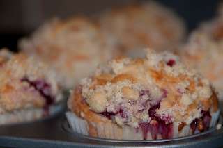 Home made raspberry crumble muffins