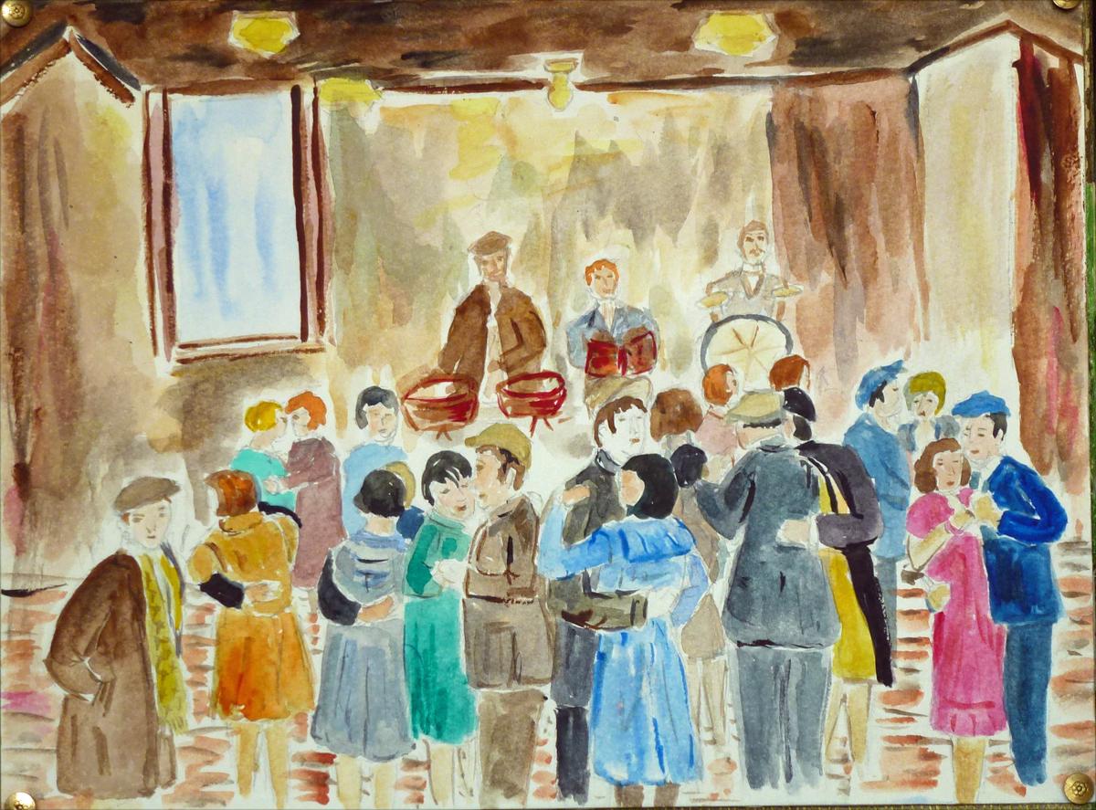 art de vivre la peinture de peintrefiguratif : peinture aquarelle le petit bal perdu