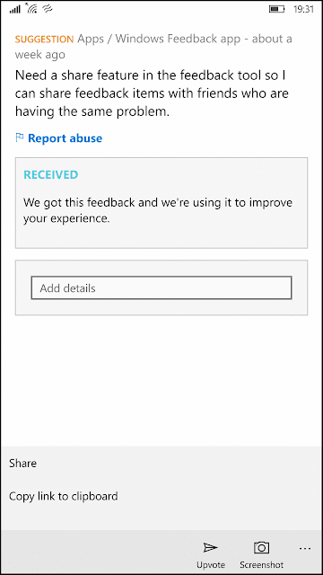 Mobile Feedback in Windows 10