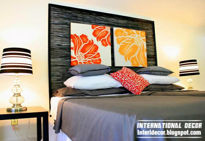black headboard, yellow orange headboard paintings