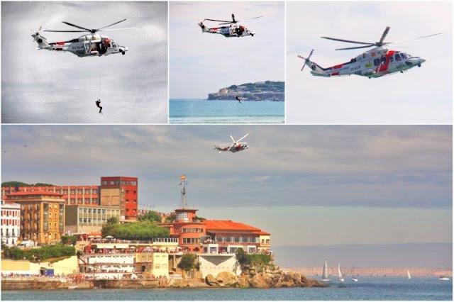 X Festival Aereo de Gijon 2015 – Helicoptero de Salvamento sobre la Playa de San Lorenzo