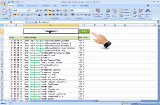 Aplikasi Cari Kode Barang dengan Microsoft Excel