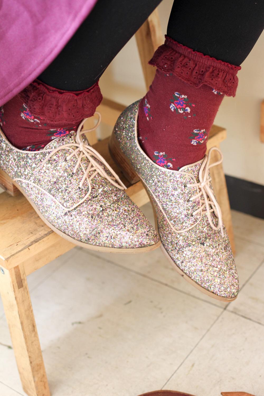 Tegan's ASOS sparkle shoes