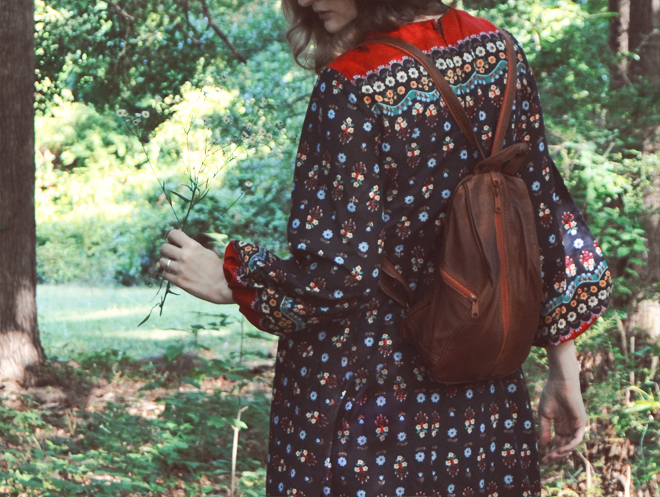 The Flying Clubhouse: The Woods at the Edge of the Meadow // vintage backpack