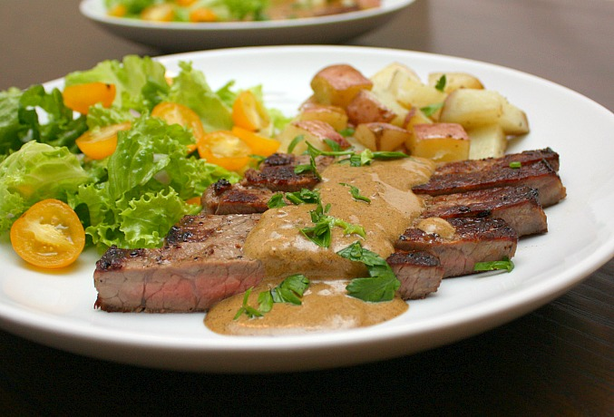APPLE A DAY: Pan-Seared Steak with Mustard Cream Sauce