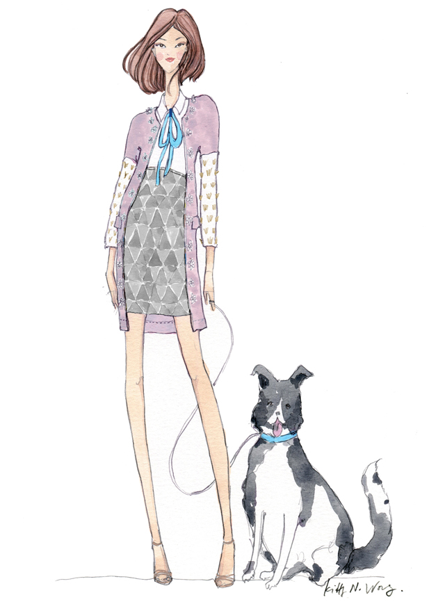 SS14 Burberry Girl fashion illustration with black white collie dog