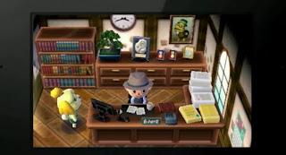 3DS とびだせどうぶつの森の画面.キャラクターが二人いる.うしろに村長の写真が飾ってある.