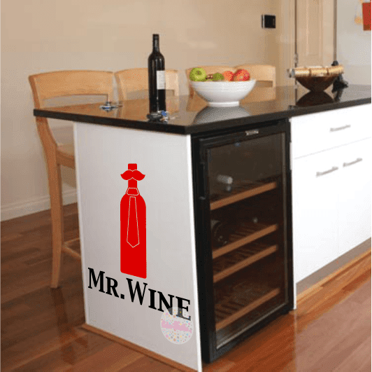 vinilo decorativo pared cocina mr. wine, bigote, botella, vino, padre, hombre