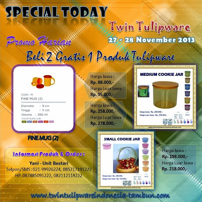 Promo Harian Tulipware 2 Free 1 | 27 - 28 November 2013