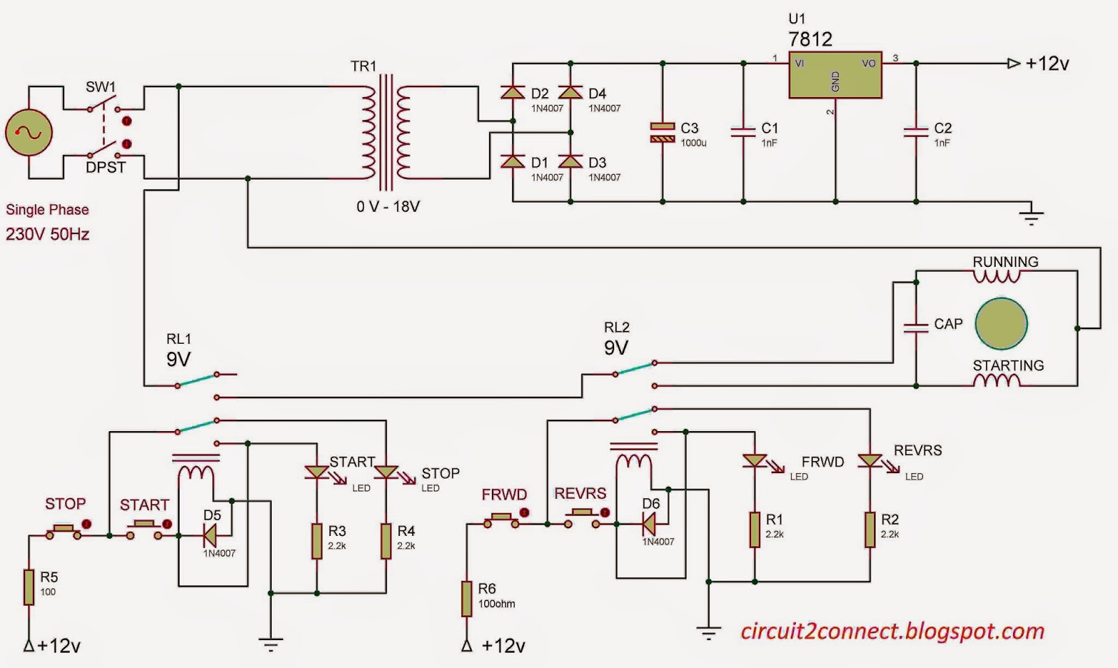 Single Phase Induction Motor Direction control v1 Circuit 2 Connect