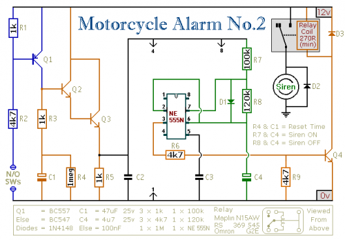 Motorcycle Alarm using NE555