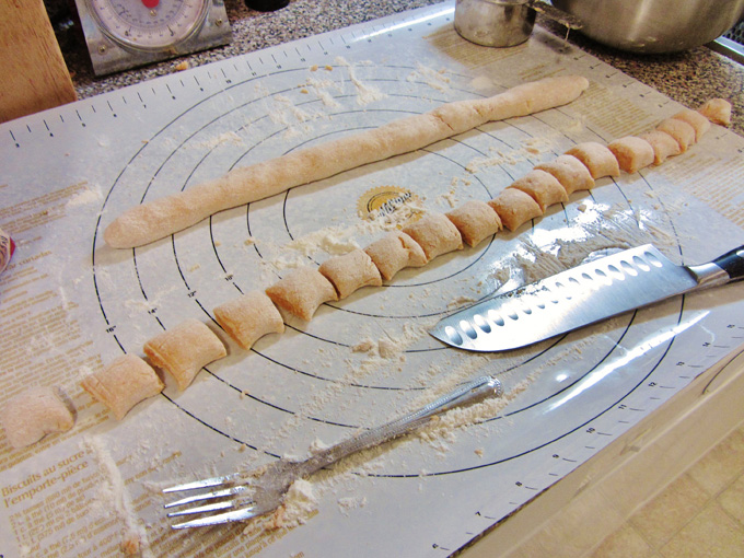making sweet potato gnocchi ropes