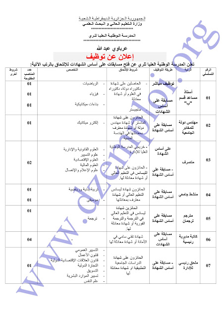 جديد إعلان توظيف أساتذة وإداريين بالمدرسة الوطنية العليا للري البليدة جوان 2015 1
