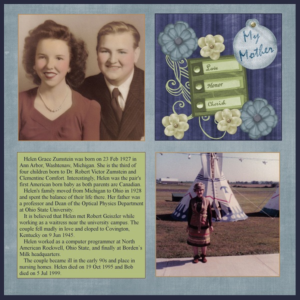 Mother's Page for Family History Scrapbook Album
