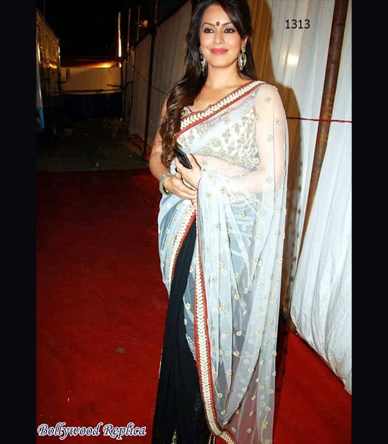 chaudary-white-black-net-georgette-saree copy