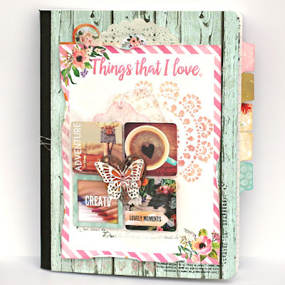 Things I Love Altered Composition Notebook or Junk Journal featuring Calendar Girl by BoBunny designed by Rhonda Van Ginkel
