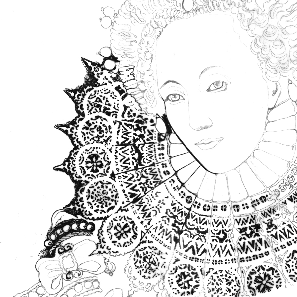 Coloring pages queen elizabeth 1 - Pencil Baselines Flesh Out The Details Followed By Inking