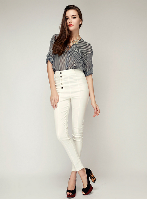High Waisted Button Up Skinny Jeans