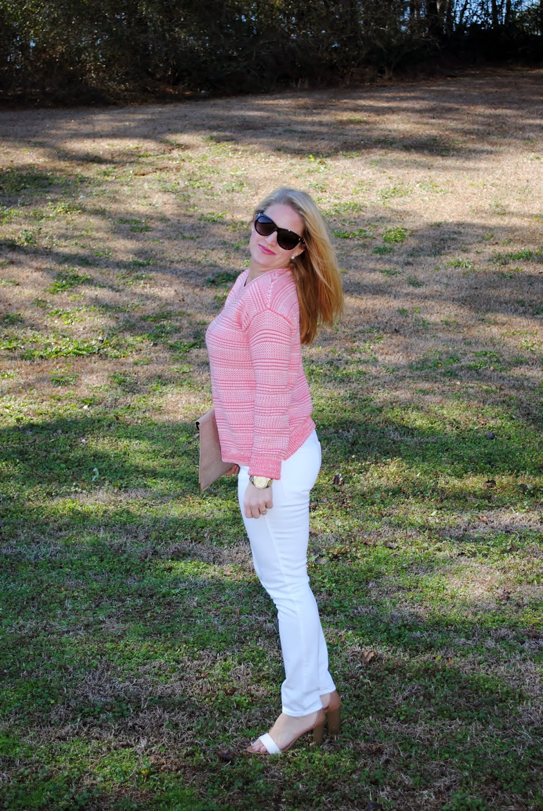 Guava Sweater, Madewell Jeans, ASOS clutch, Block Heel Sandals Sunshine and Sequins Blog