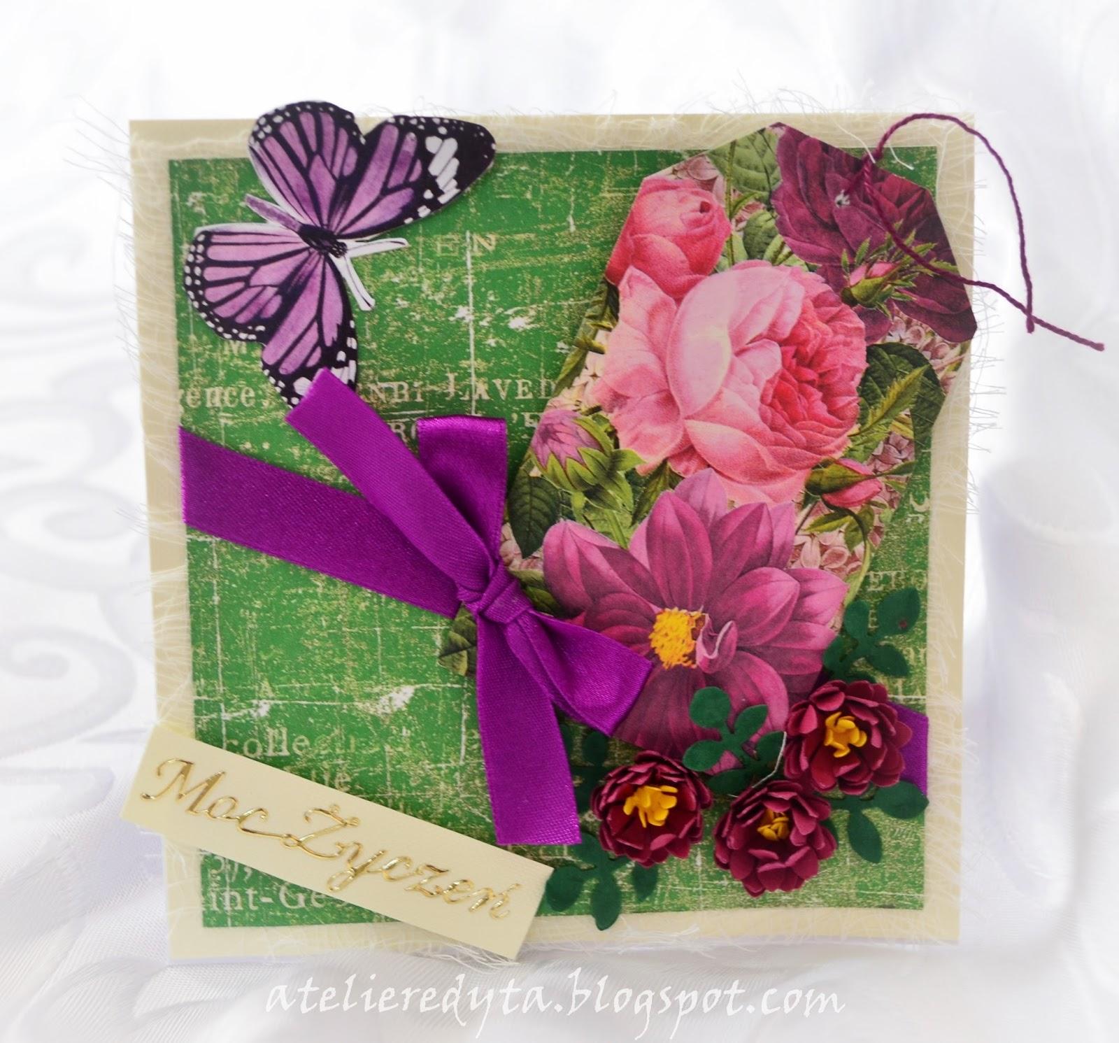 Ręcznie robiona kartka w kolorach zielono - fioletowych z kwiata