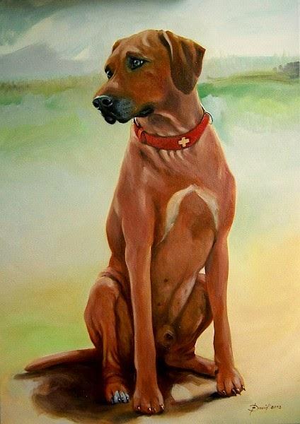 Hundeportrait, Rhodesian Ridgeback, Ölgemälde