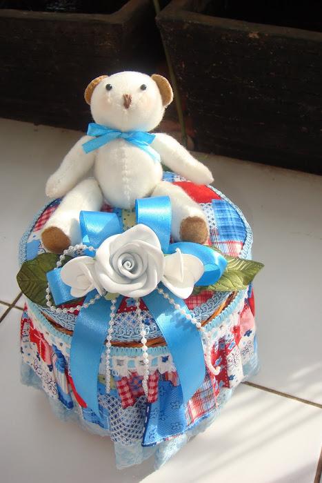 keranjang oval kecil boneka bear